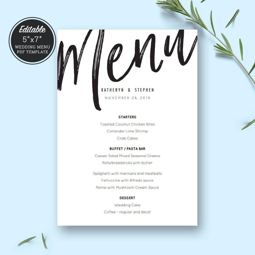 Wedding Menu Cards Printable Templates Rustic Wedding Menu Cards