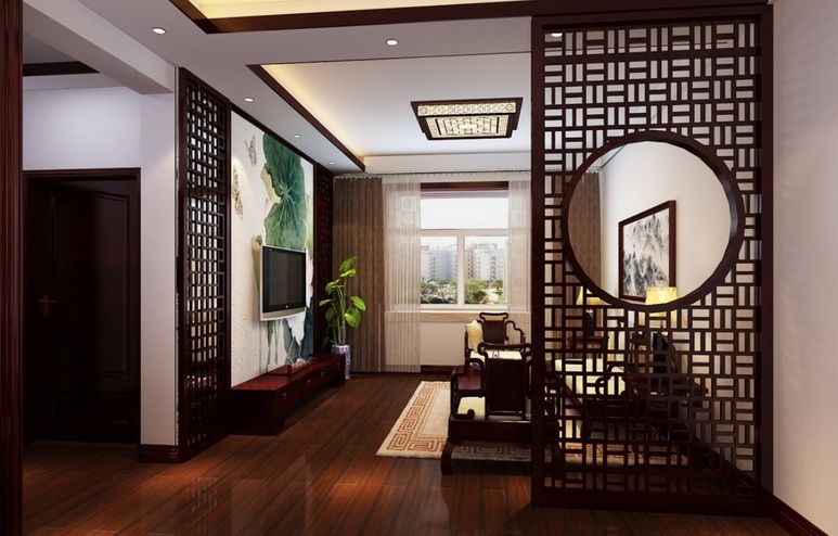 Floor to ceiling room dividers with decorative wooden room