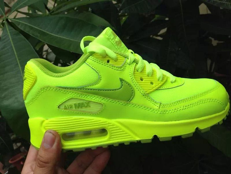 on feet images of presenting exclusive range Nike Air Max 90 GS Running Shoes Volt Fierce Green | Nike ...