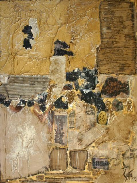 grand tableau abstrait contemporain collage dans les tons beige et noir r alis avec du carton. Black Bedroom Furniture Sets. Home Design Ideas