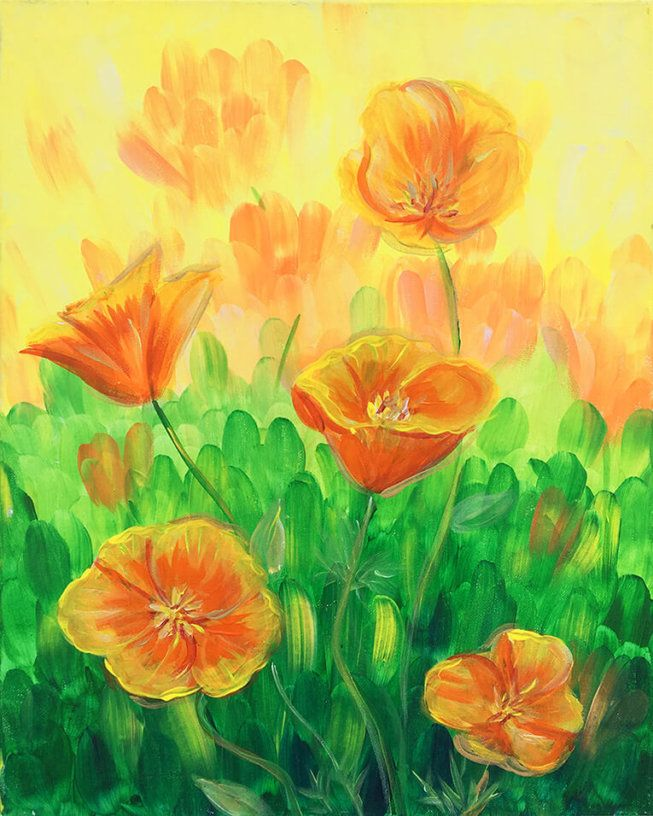 Art Nouveau Inspired California Poppy By Mason Larose: Pictures Of Poppies To Paint