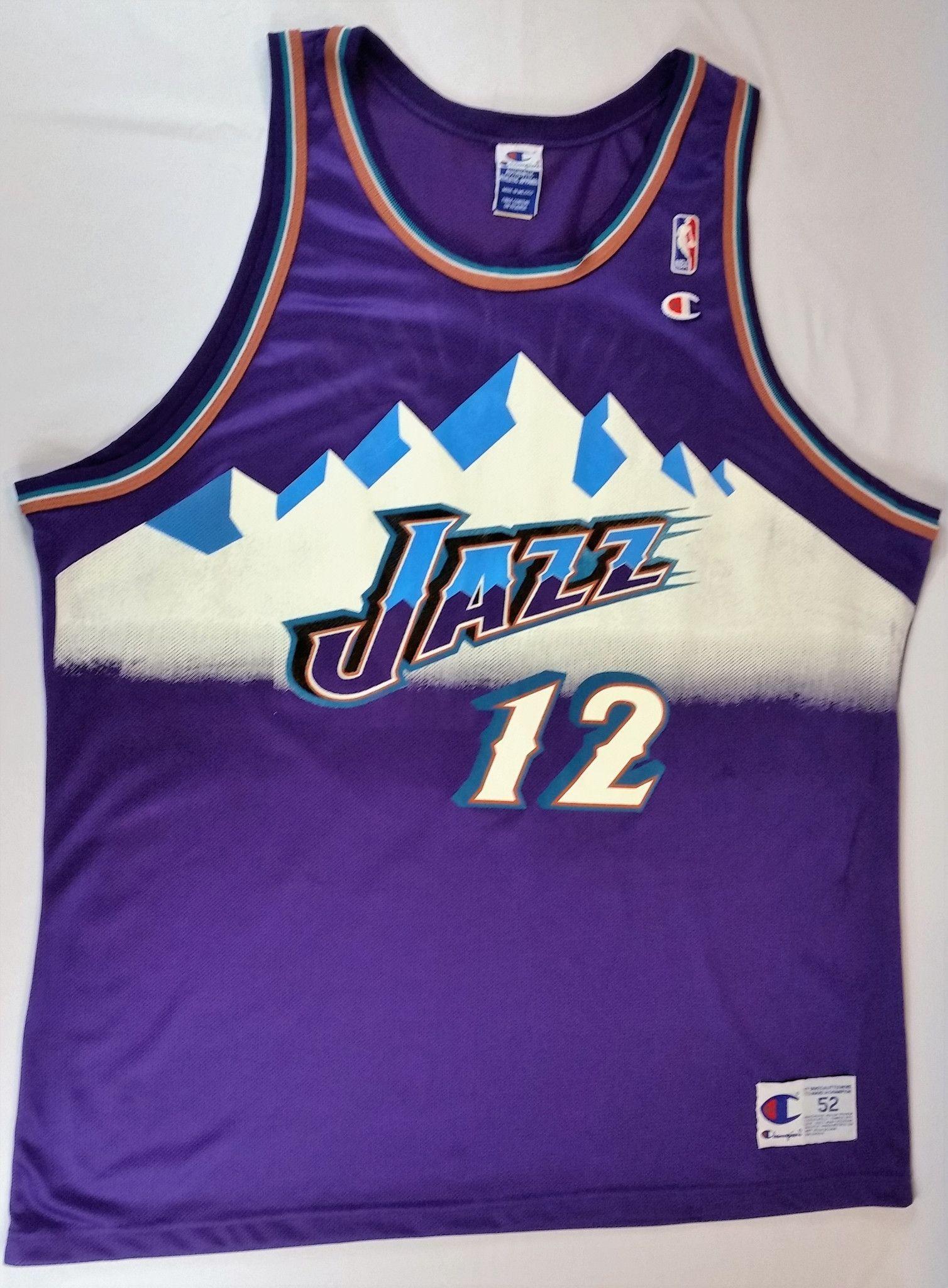 768cce56e3c John Stockton Champion Jersey NBA Utah Jazz Alternate Mountain RARE Malone  sz 52