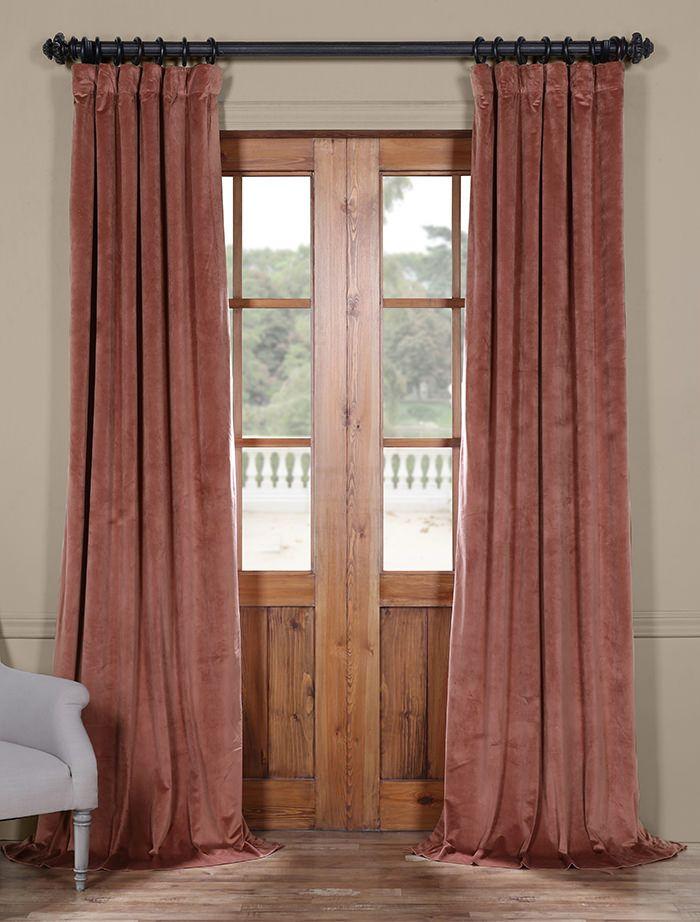 Wild Rose Heritage Plush Velvet Curtain Velvet Curtains Pink