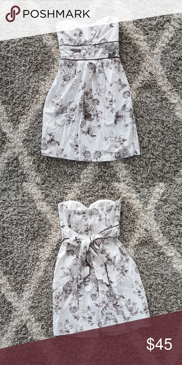 9d942abbb22d Floral Tube Top Dress Pleated off white and brown floral dress w/ pockets  and tie