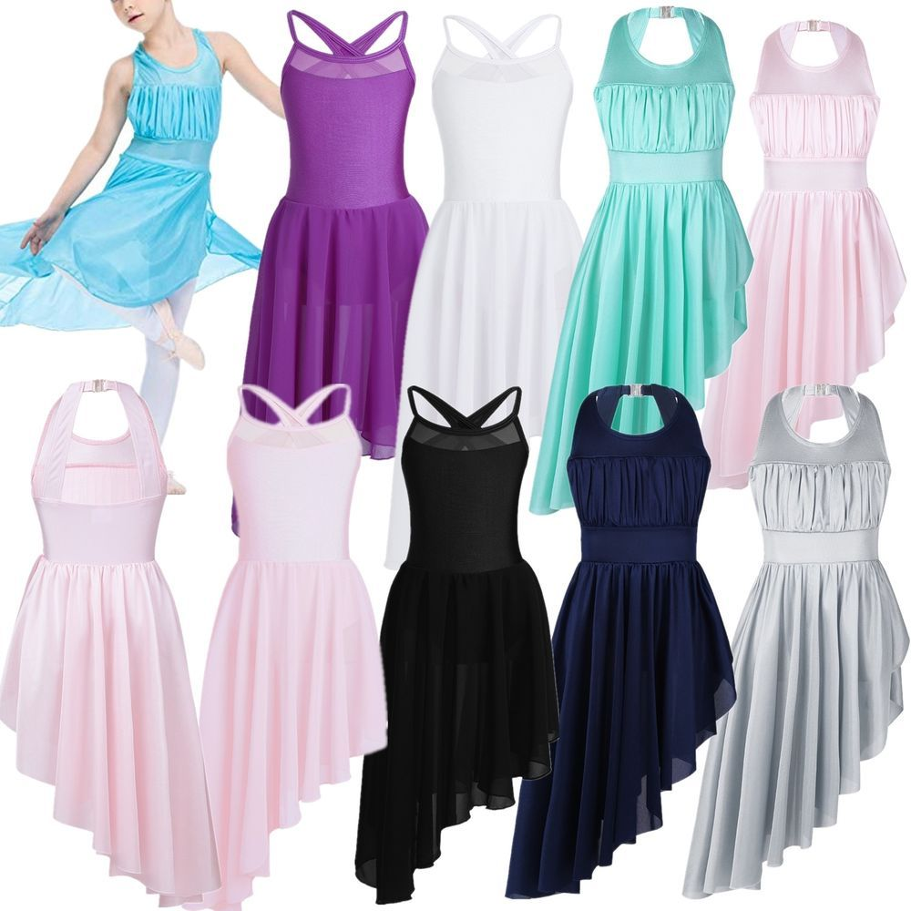 Girl Lyrical Ballet Dress Gym Open Back Leotard High-Low Skirt Dancewear Costume