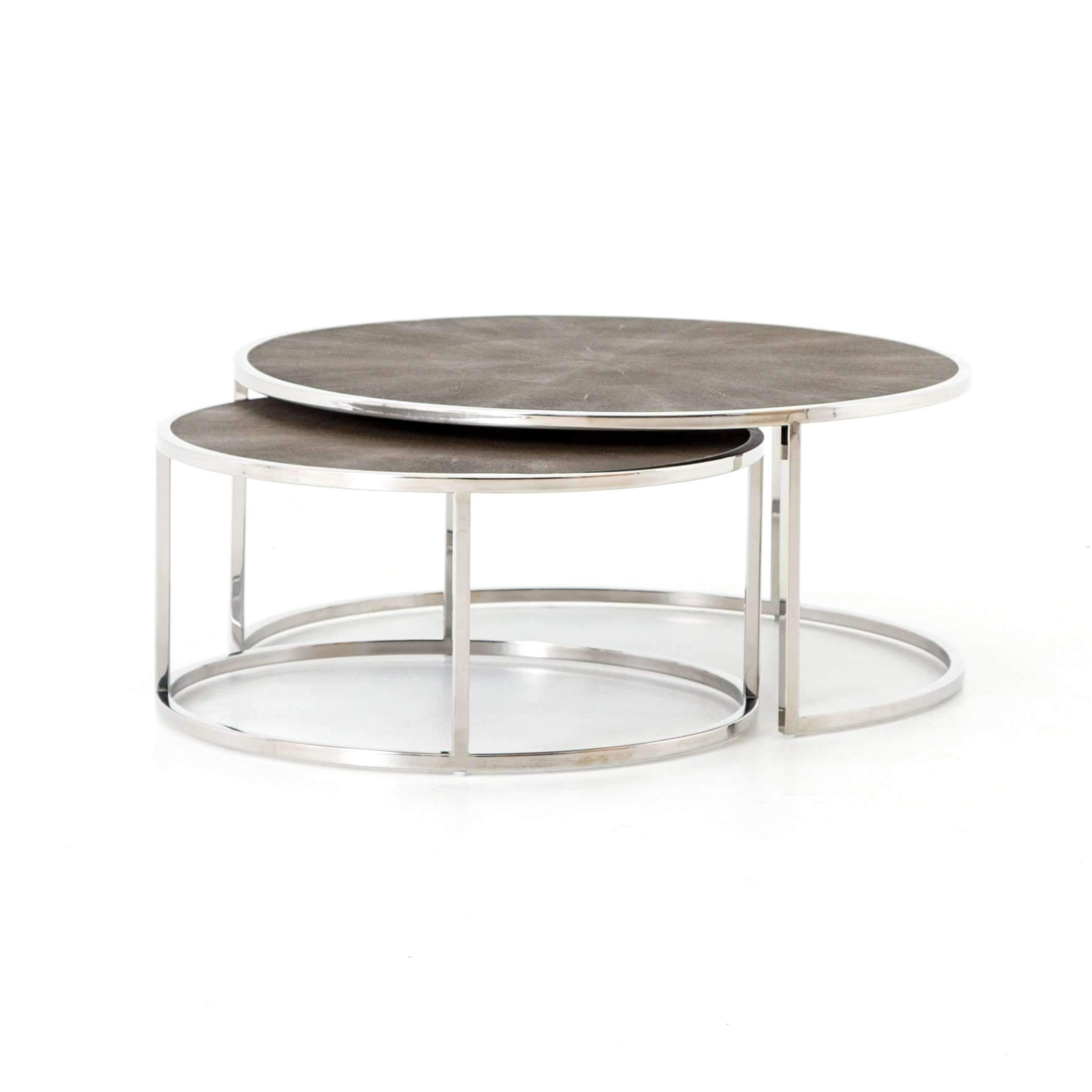 Shagreen Nesting Coffee Table Stainless Steel Brass