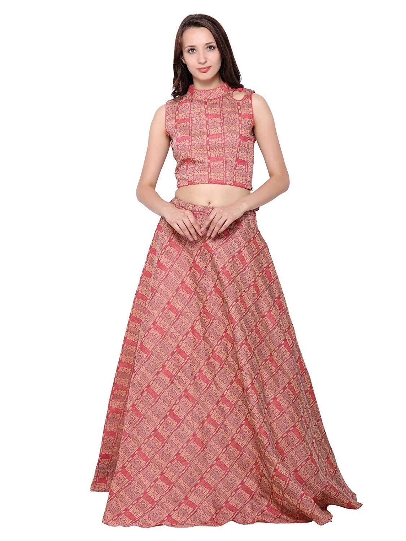 d5dcd146422 Inddus Pink Banarasi cotton Woven Semi Stitched Lehenga choli  Amazon.in   Clothing   Accessories