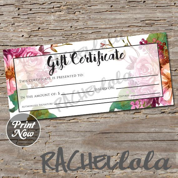 Floral Gift Certificate Printable Gift Certificate Template Fall