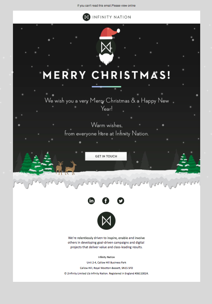Infinity Nation Sent This Email With The Subject Line Jingle Bells Jingle Bells Read About Thi Email Christmas Cards Christmas Newsletter Holiday Emails
