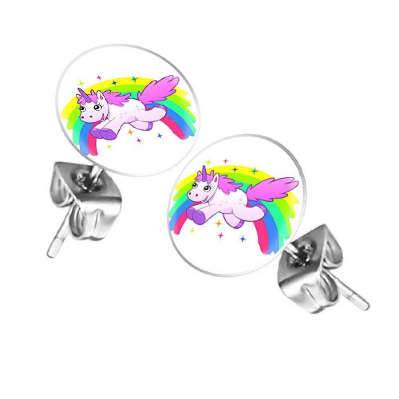 Ohrstecker Ohrringe Mit Motiv Uber Regenbogen Springendes Einhorn Ohrstecker Einhorn Motive