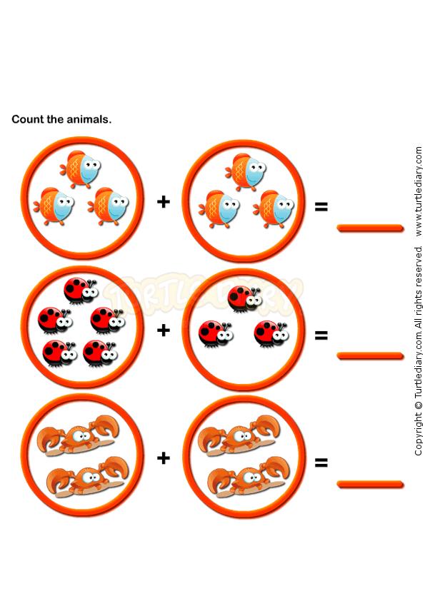 Picture Addition 7 - math Worksheets - preschool Worksheets ...