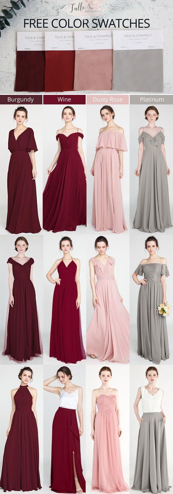 Burgundy Wine Dusty Rose And Platinum Bridesmaid Dresses 2019 Wedding Weddinginspir Burgundy Wedding Dress Wine Bridesmaid Dresses Short Bridesmaid Dresses