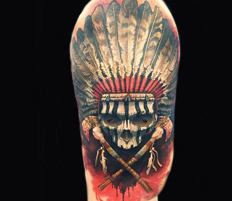 Indian Skull tattoo by Steve Butcher | Best tattoos | Indian skull tattoos, Indian skull, Tattoos