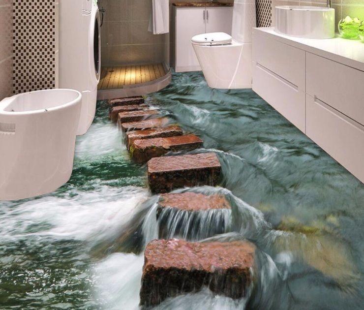 3d Wallpaper Waterproof River Stones Bathroom Thickened Self Adhesive Wall Stone Floor Bathroom Floor Wallpaper Floor Murals