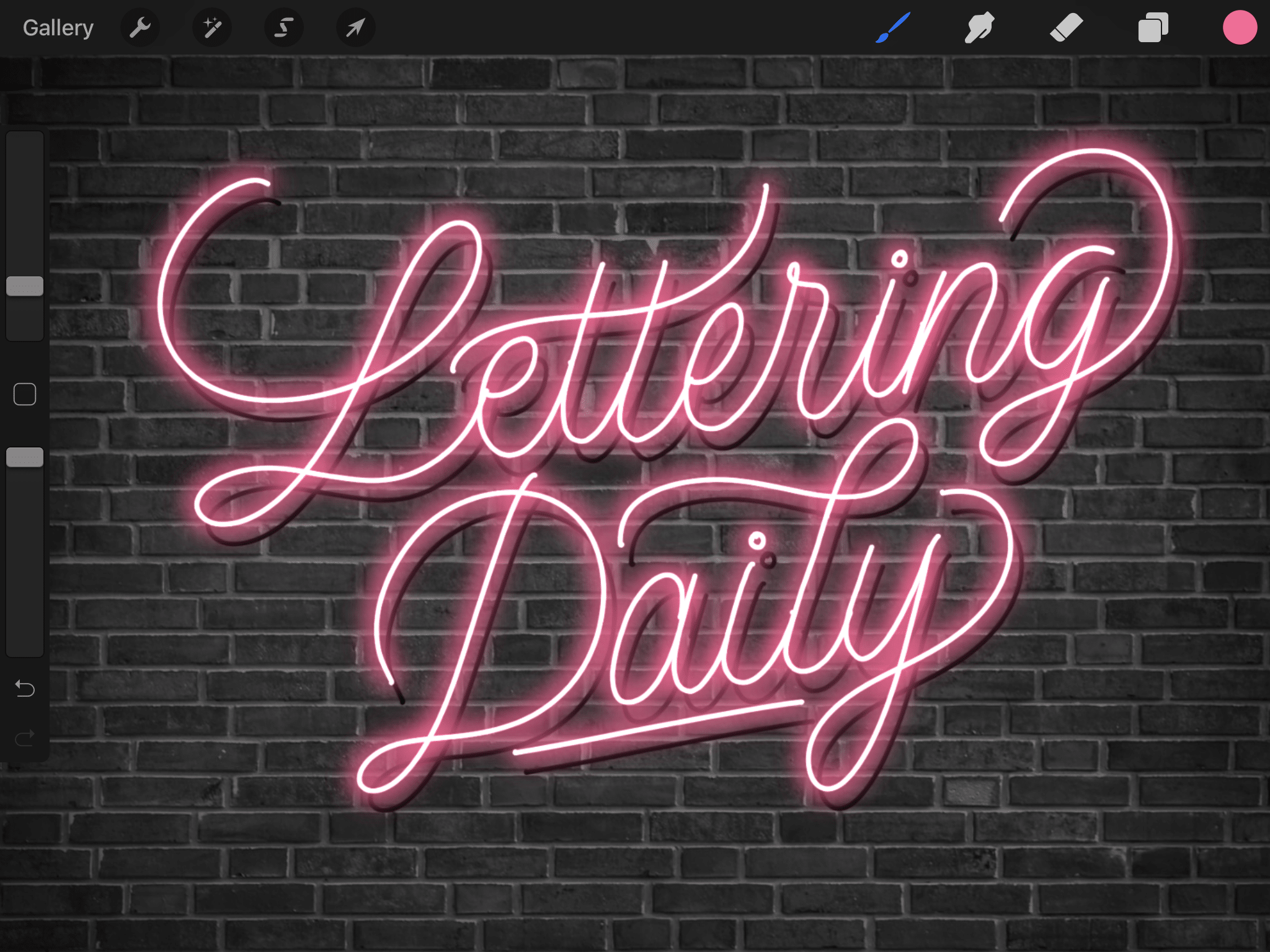 How To Create Neon Lettering In Procreate Tutorial 2020 Lettering Daily Lettering Procreate Tutorial Neon Signs