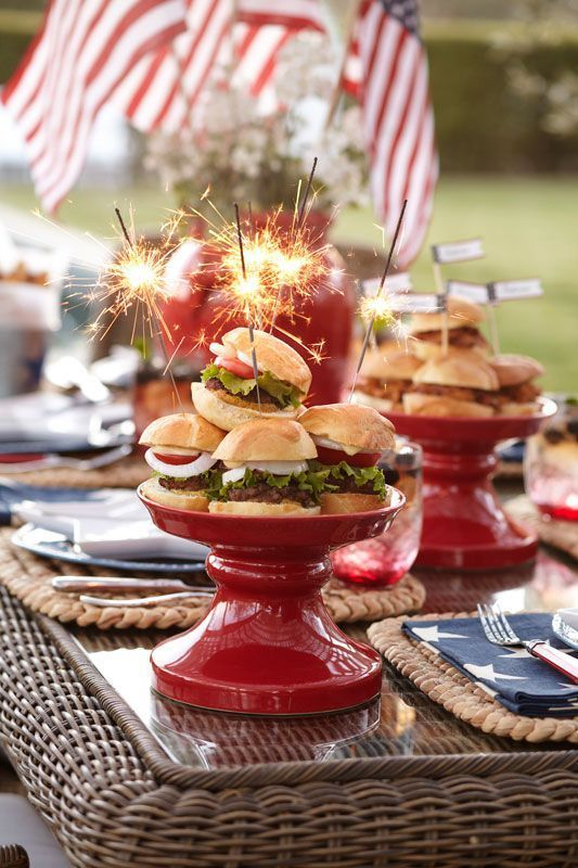 Pretty 4th Of July Table Setting And Burger Presentation With