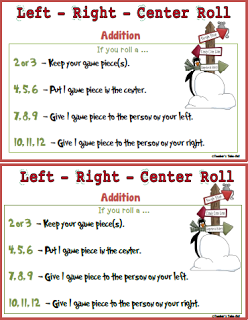 Free Left Right Center Christmas Math Game. Great for the ...
