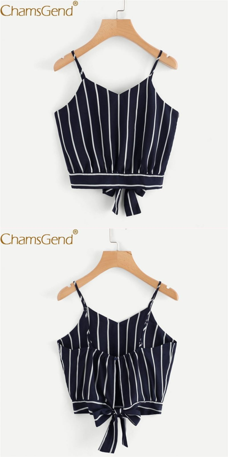 4373387ed55 Shirt newly design ladies sexy striped v neck backless camis crop top ol  fashion short blouse