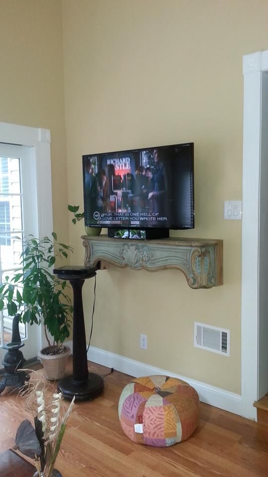 Mantle as shelf. Build out the wall to allow enough depth for set ...
