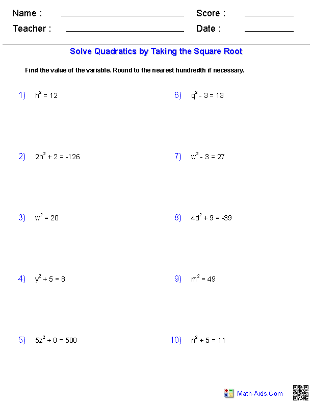 Solving Quadratic Equations By Taking Square Roots | Math-Aids.Com ...