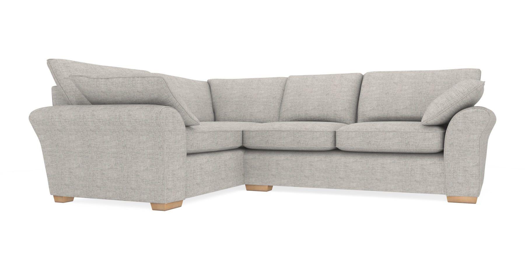 Garda Corner Sofa Left Hand 4 Seats Textured Weave Light Grey Block From The Next Uk Online
