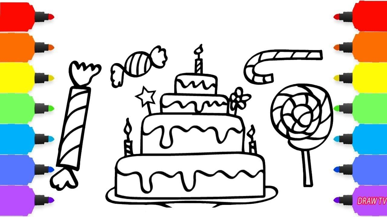 How To Draw Birthday Cake And Candies Colors For Kids To Learn