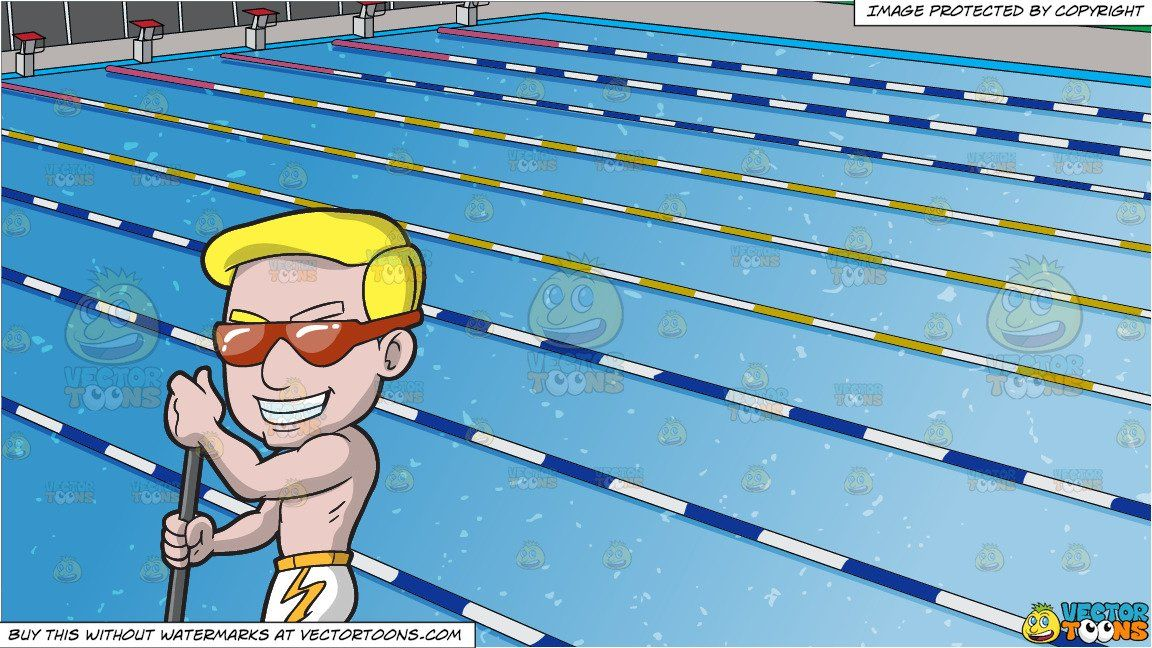 Clipart Cartoon A Cocky Man Paddle Boarding And Outdoor Competition Swimming Pool Background