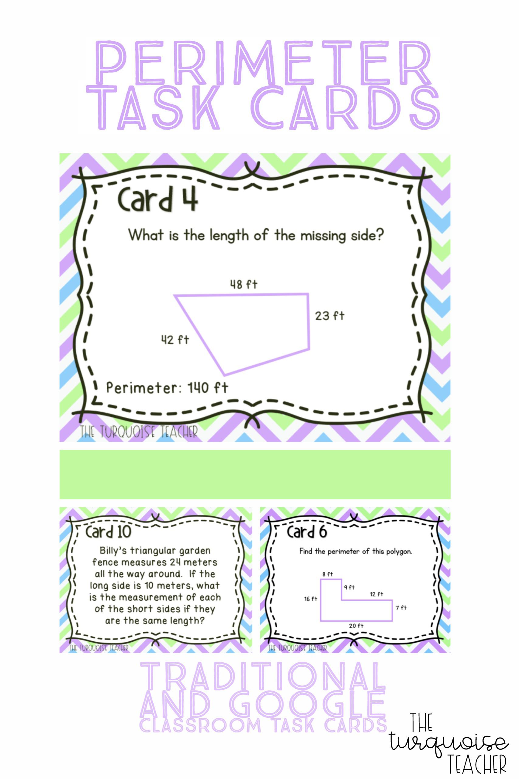 Third Grade Perimeter Task Cards And Classroom