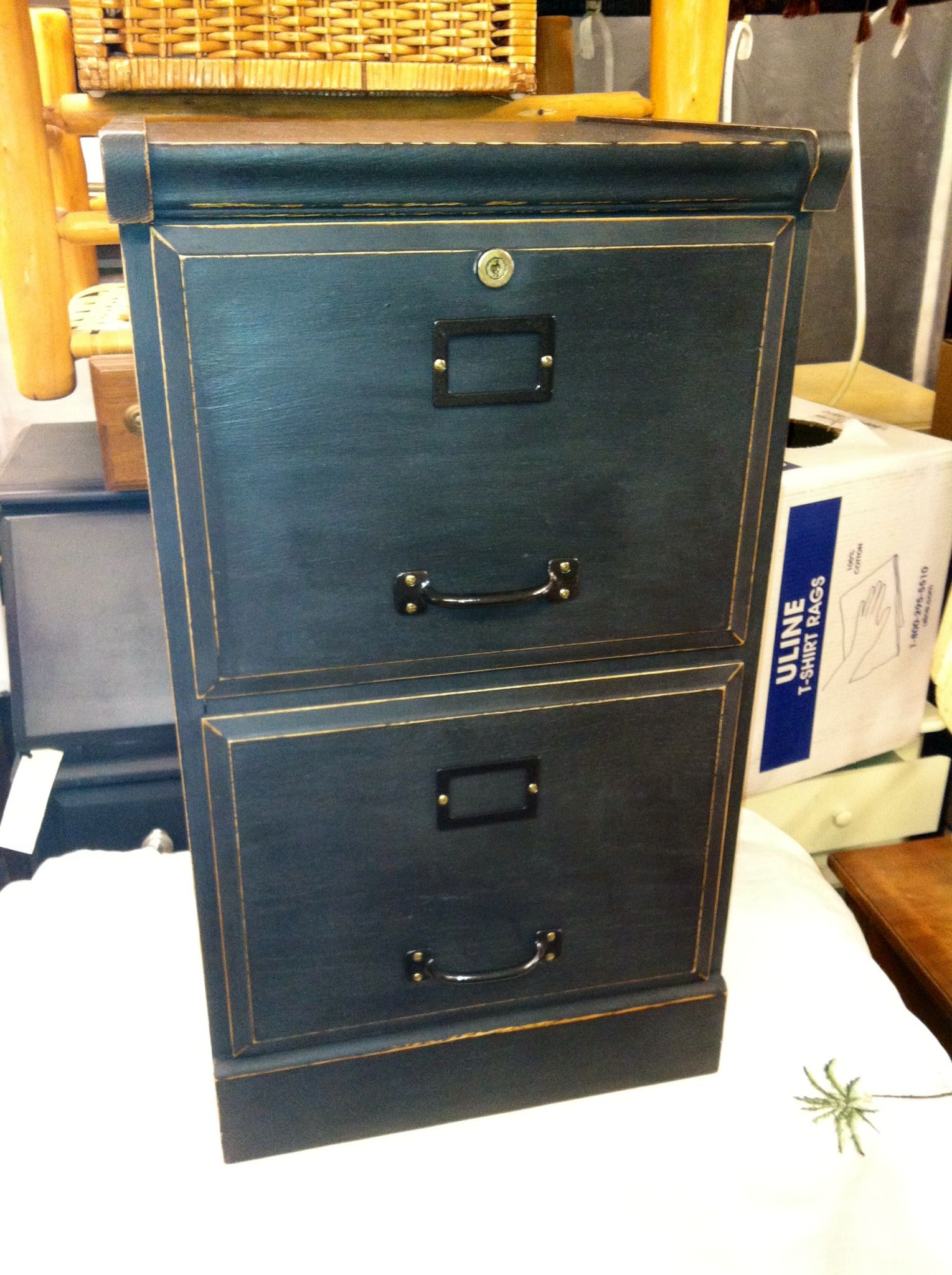 File cabinet painted in Beckley coal black distressed shabby chic