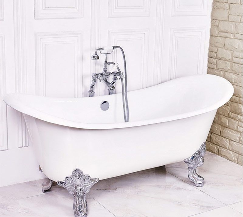 Double Slipper Cast Iron Bathtub Size 1830 770 810mm Weight 170