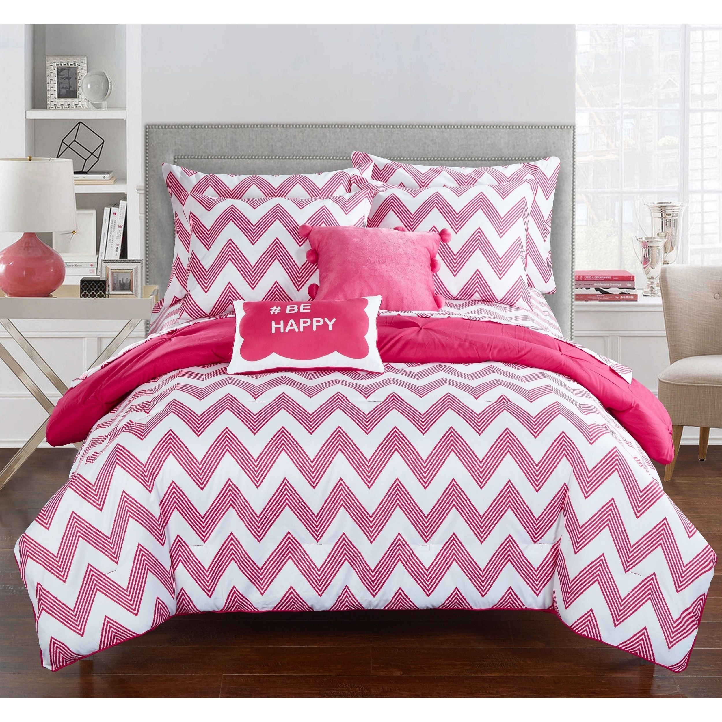 Chic Home Foxville Fuchsia 9Piece Bed in a Bag with Sheet