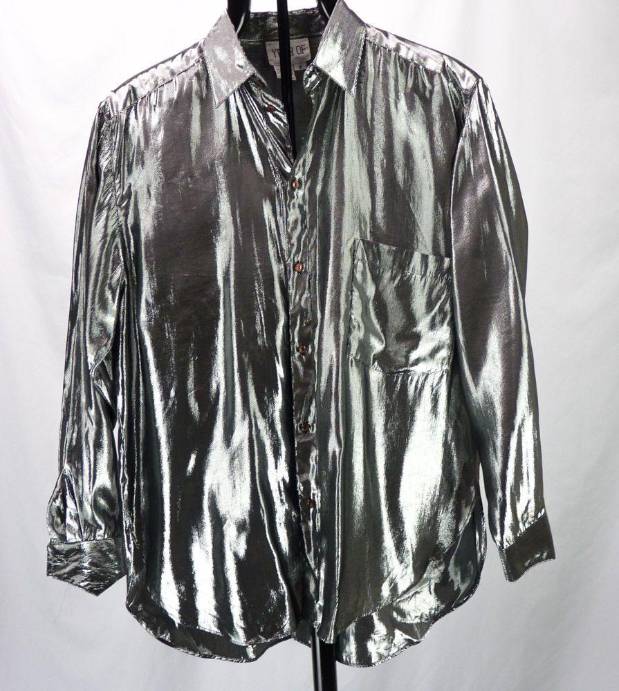 7690038e Vintage 90s Silver Shiny Metallic Mens Club Shirt Sz S/M Hip Hop Fresh  Prince #YearOf #ButtonFront