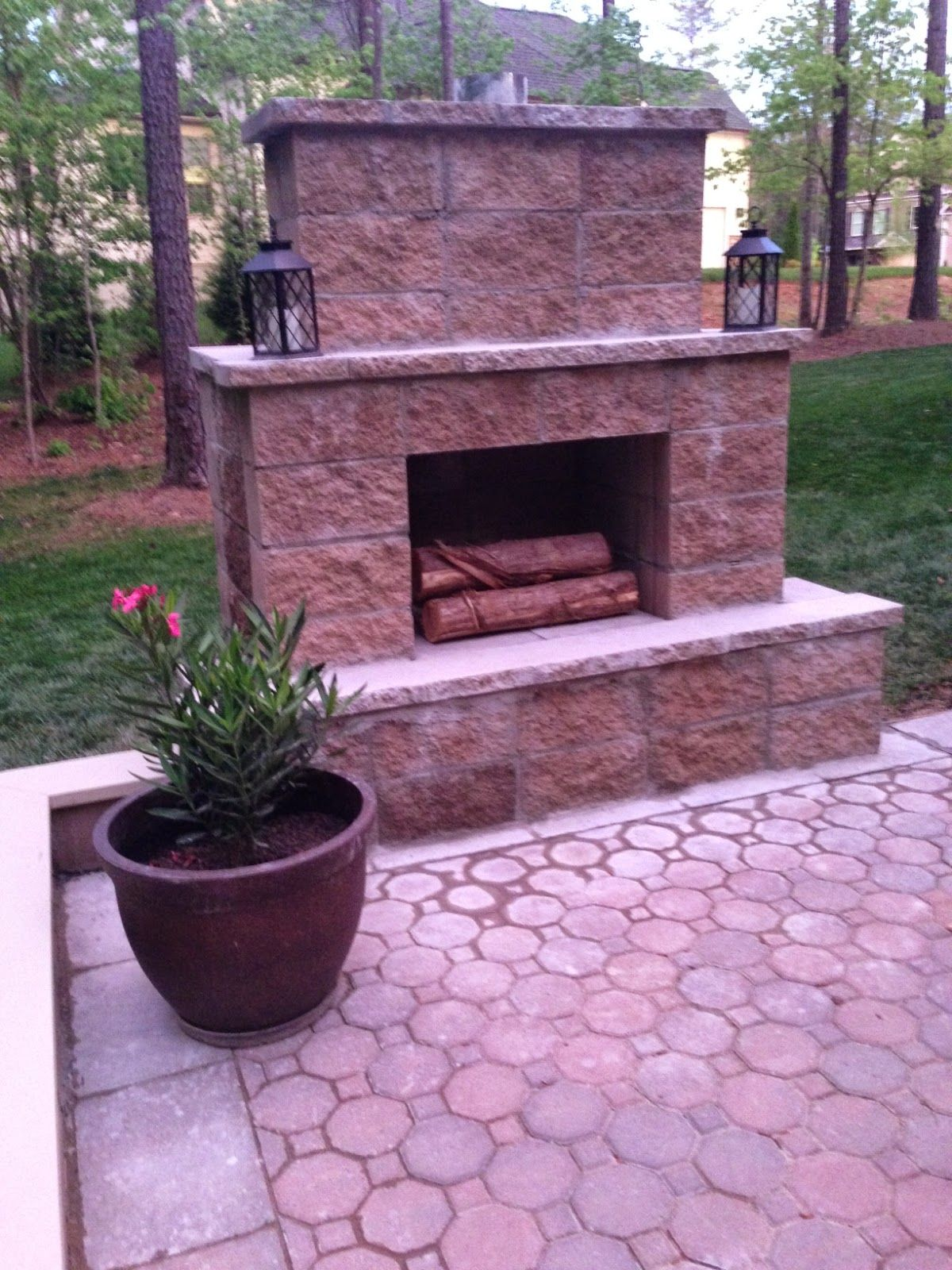 Life In The Barbie Dream House Diy Paver Patio And Outdoor Fireplace Reveal Backyard Fireplace Diy Outdoor Fireplace Diy Patio Pavers