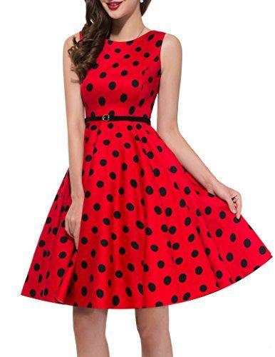 bab2f0a982 Women Vintage Dresses Cotton Black Polka Dots Rockabilly Party Dress ...