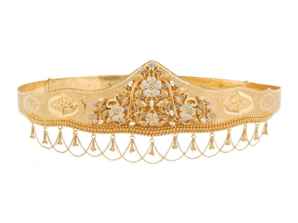 Gold vaddanam oddiyanam kammarpatta waisbelt designs south indian - Gold Vaddanam Having Floral Creepers With Cubic Zircons And Synthetic Stones Which Adorn The Centerpiece Of This Extraordinary Oddiyanam Wit
