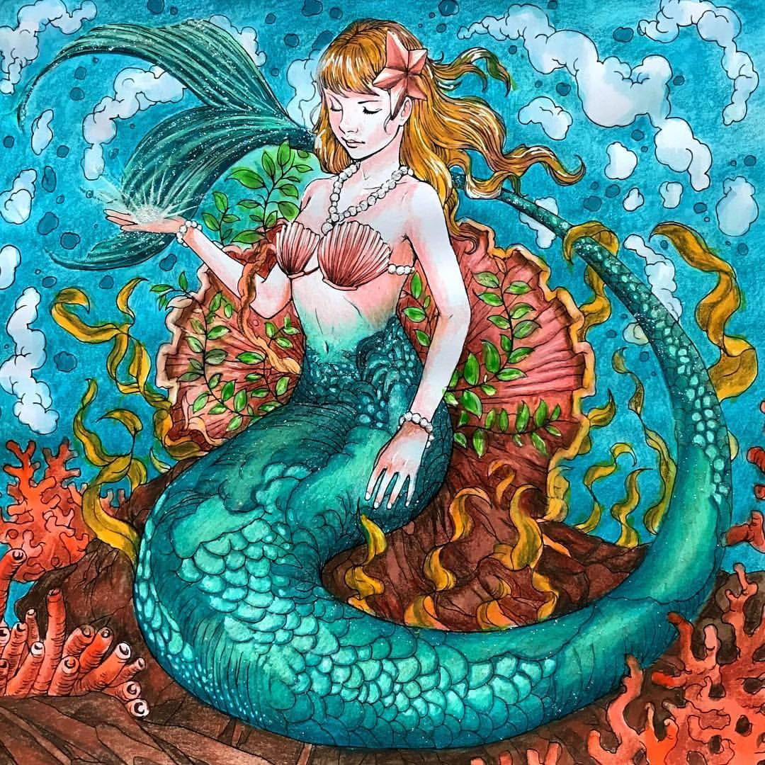 200 Likes 14 Comments Dede Willingham Inkiwell On Instagram Mermaid From Fantasia By Nicholas Chandrawienata Coloring Colorbook Prismac Nixe Wasser