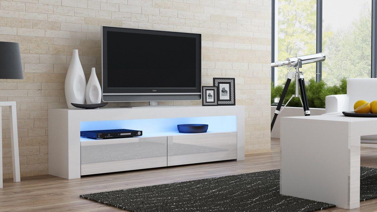 Milano 157 Classic White Gloss Tv Stand Fernsehtisch Tv Mobel