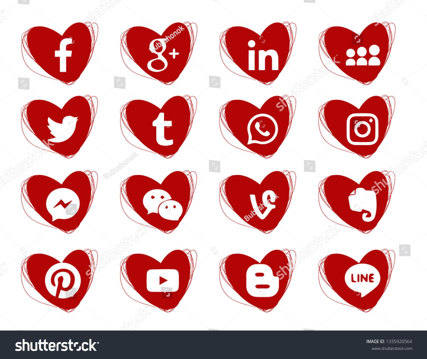 Hearts doodles icons. Red. Collection of popular social