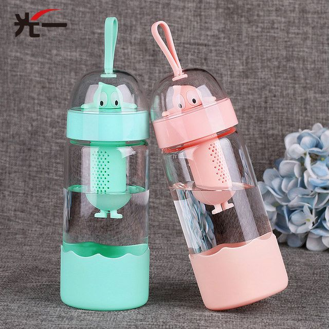370ML Cartoon Big Eyes Glass Feeding Cups Water Bottle Portable Rope For Children Kids Water Cup Travel