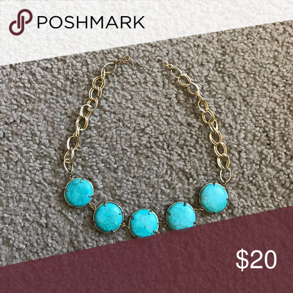 Gold plated and turquoise statement necklace Gold plated ...