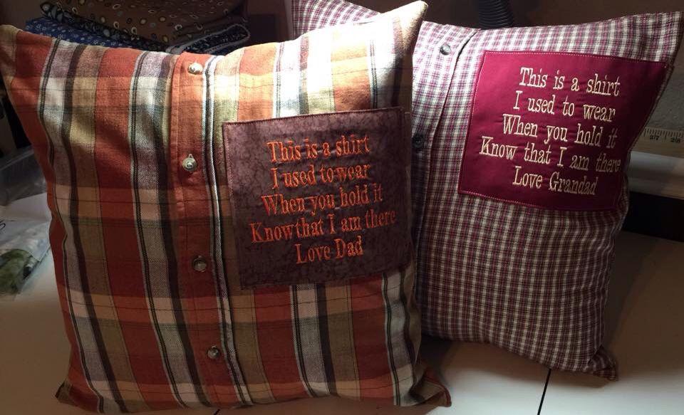 Dads shirts made into pillows. http://www.ducklingsinarow.com/2012 ...