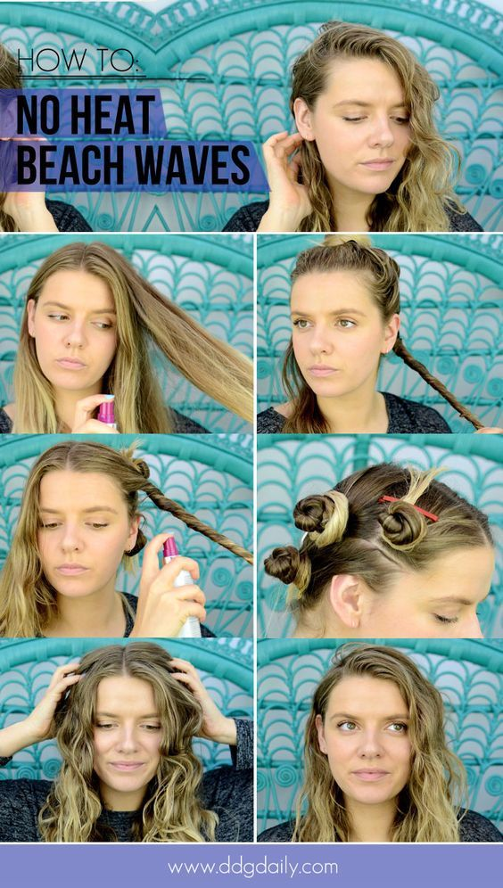 Hairstyles For Hot Days Hair Without Heat Waves Hair Tutorial Short Hair Waves