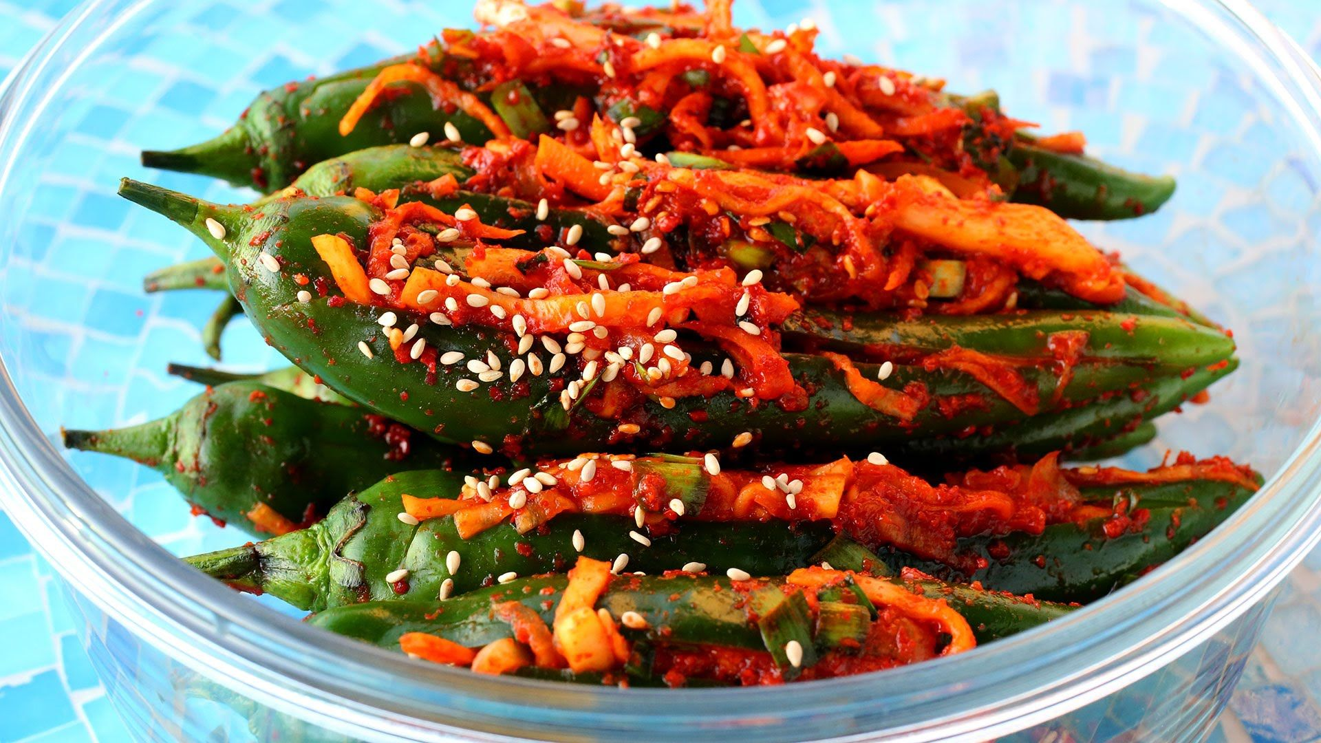 Spicy stuffed green chili pepper kimchi gochu sobagi dishes forumfinder Choice Image