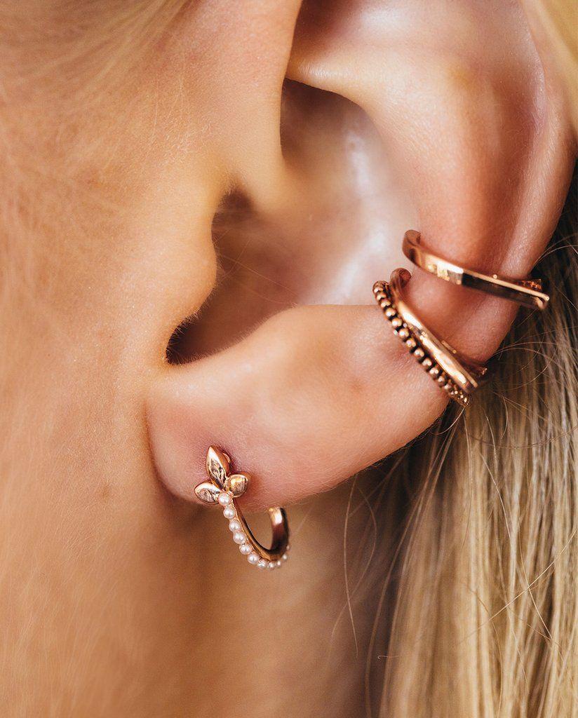 Marquise Hook Huggies Rose Gold Ear Piercings Jewelry Earrings