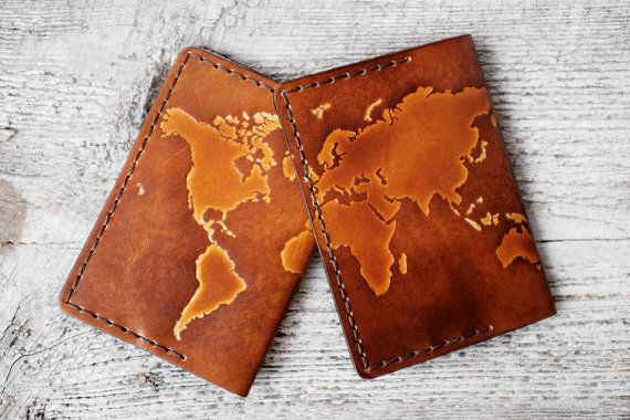 Leather passport holder world map embossed travel gift passport passport cover personalized genuine leather map travel gift personalized passport holder wanderlust world map travel wallet gumiabroncs Images