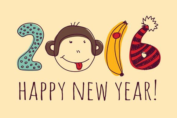 happy 2016 new year by Crowhouse on Creative Market