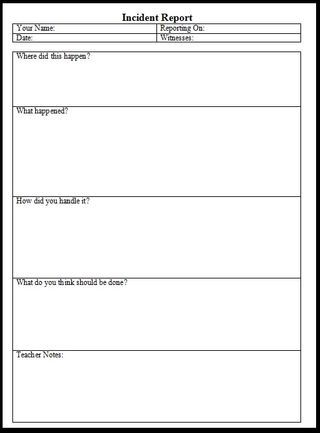 IncidentReport  Student Fills This Out Then Have A OneOn One