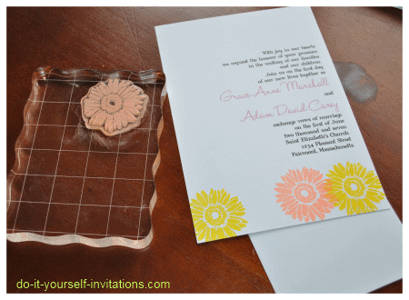 Diy pocket gerbera daisy wedding invitations diy wedding diy tips ideas and a step by step tutorial to help you make your own gerbera daisy wedding invitations see how we turned an ordinary rubber stamp and solutioingenieria Gallery