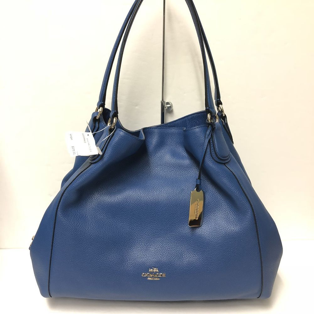 NWT Coach Refined Pebble Leather Edie Shoulder Bag DENIM BLUE 33547 -  375 469933e2580df