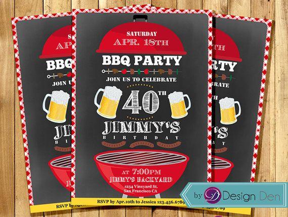 BBQ Birthday Invitation BBQ Party Invitation Picnic Invitation